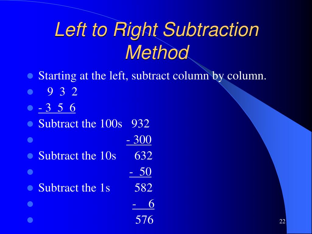 Left to Right Subtraction Method