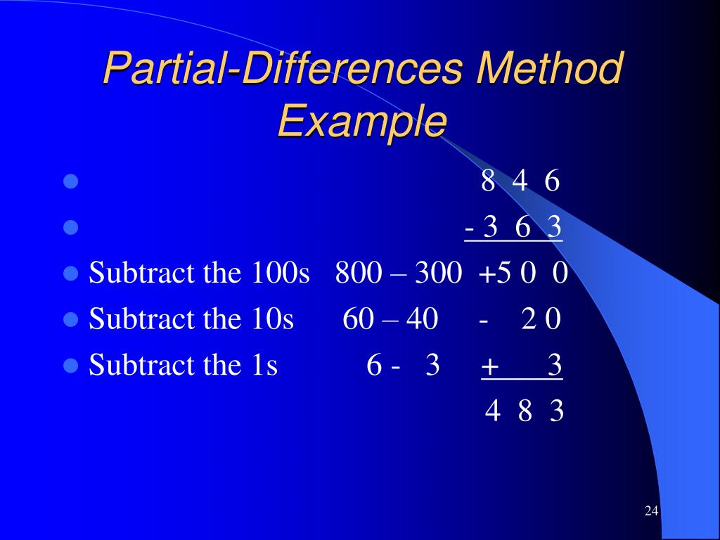 Partial-Differences Method Example