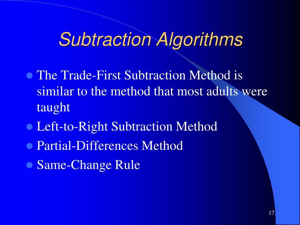 Subtraction Algorithms