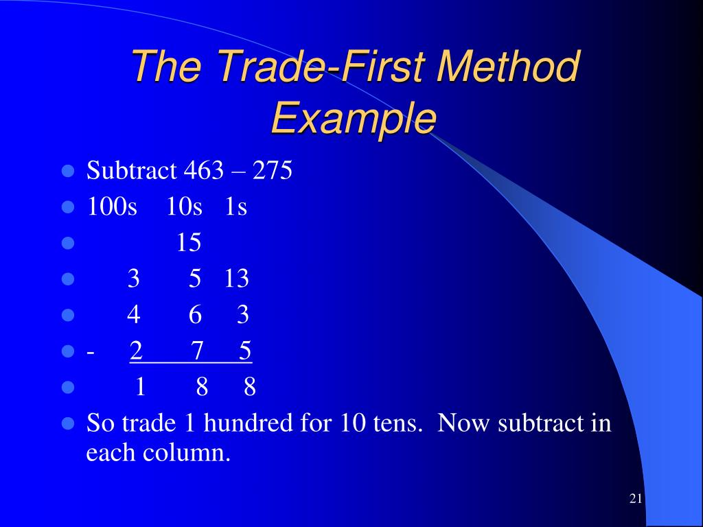The Trade-First Method Example