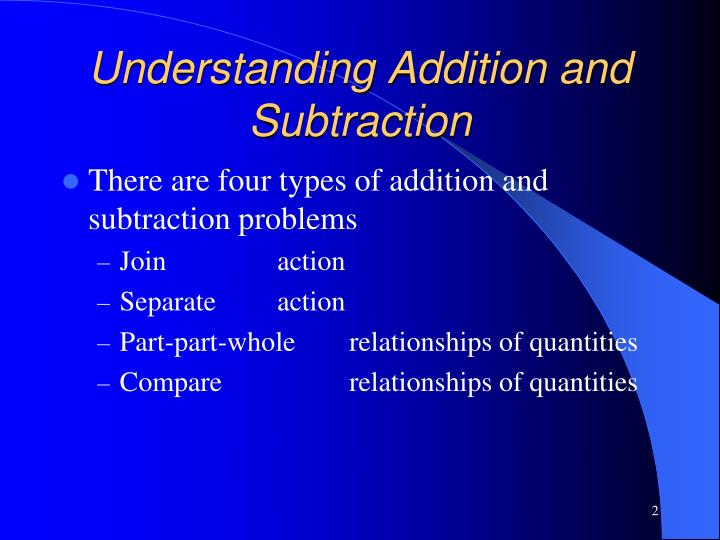 Understanding addition and subtraction