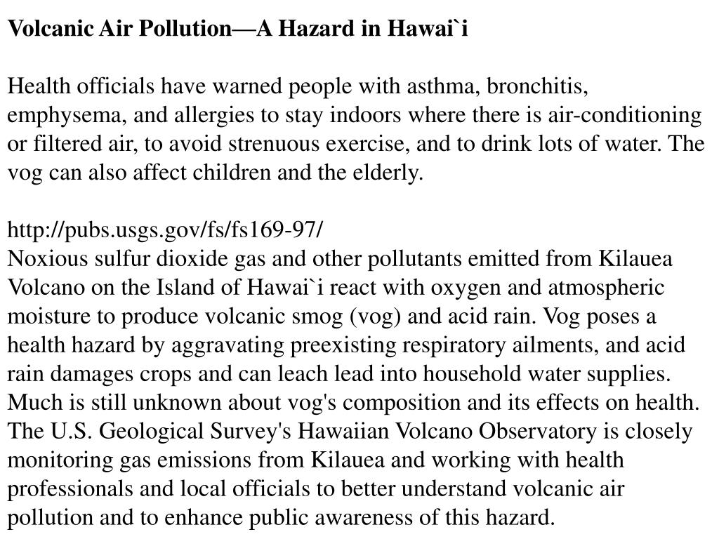 Volcanic Air Pollution—A Hazard in Hawai`i