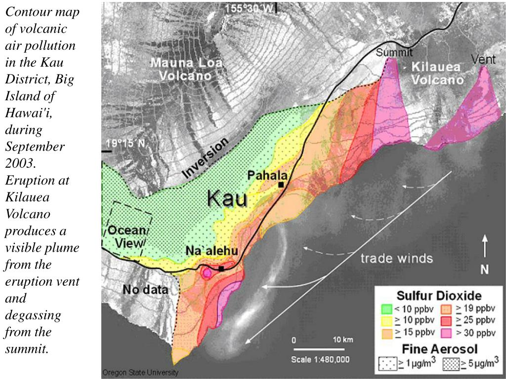 Contour map of volcanic air pollution in the Kau District, Big Island of Hawai'i, during September 2003. Eruption at Kilauea Volcano produces a visible plume from the eruption vent and degassing from the summit.
