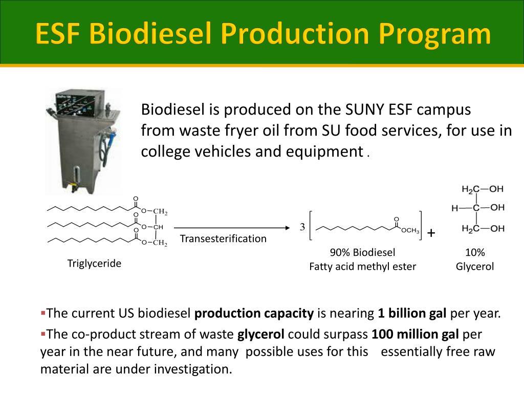 ESF Biodiesel Production Program
