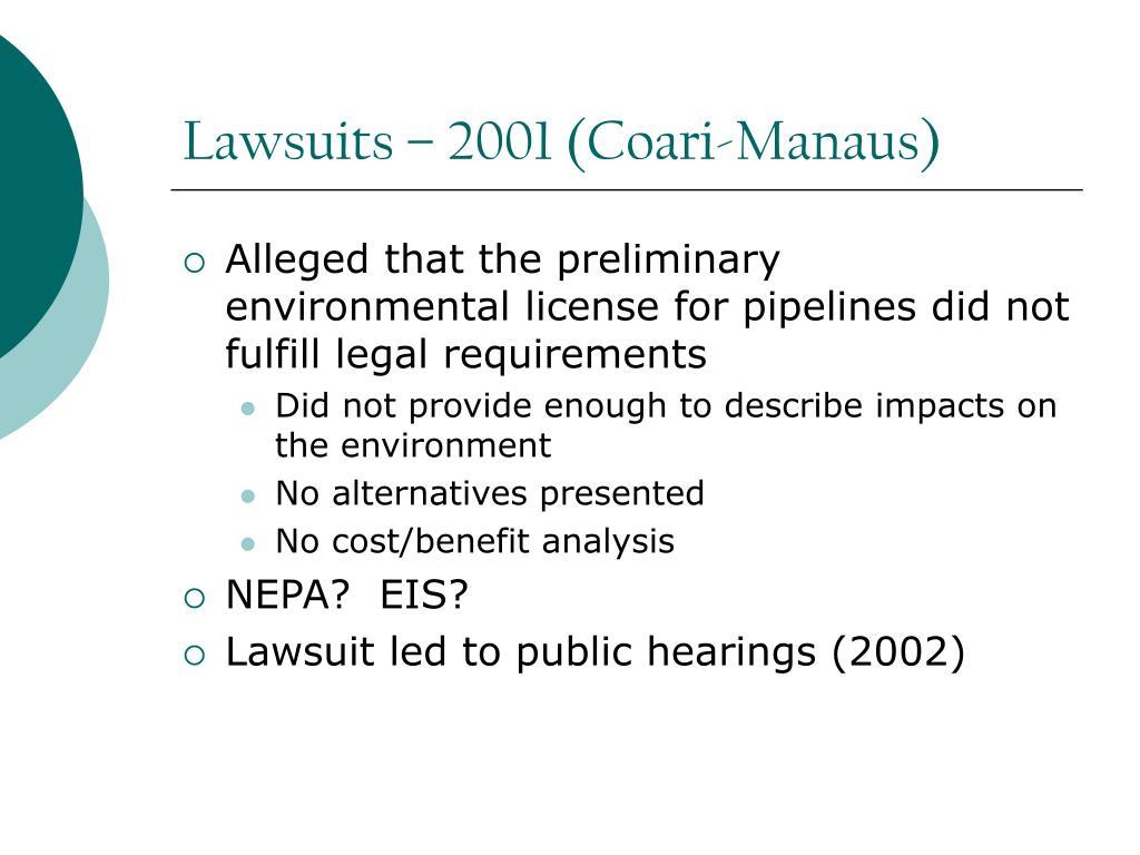 Lawsuits – 2001 (Coari-Manaus)