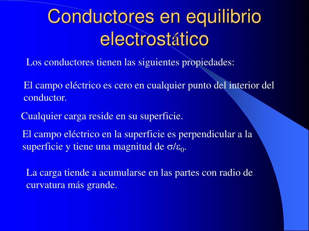 Conductores en equilibrio electrost