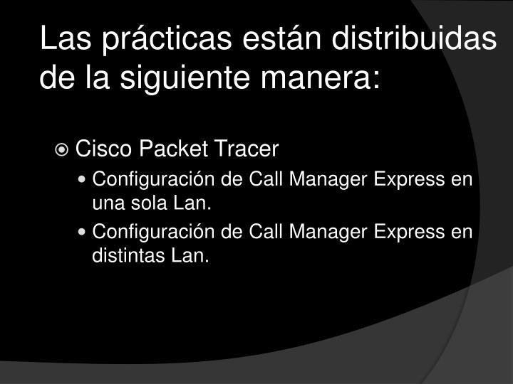 Las prácticas están distribuidas de la siguiente manera: