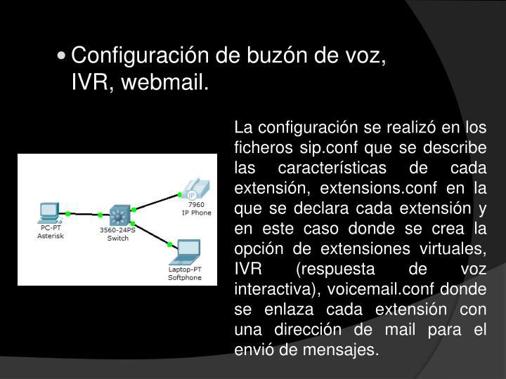 Configuración de buzón de voz, IVR,