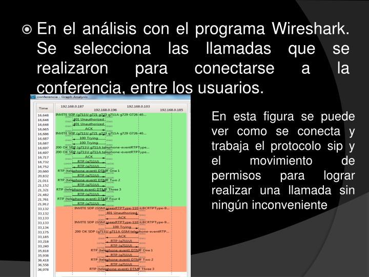 En el análisis con el programa Wireshark. Se selecciona las llamadas que se realizaron para conectarse a la conferencia, entre los usuarios.