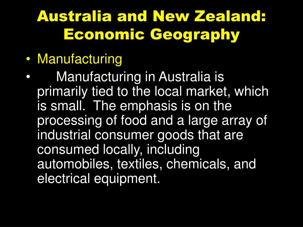 Australia and New Zealand: Economic Geography