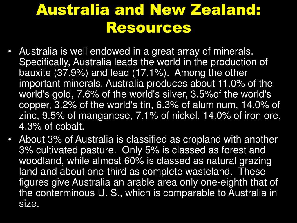 Australia and New Zealand: Resources