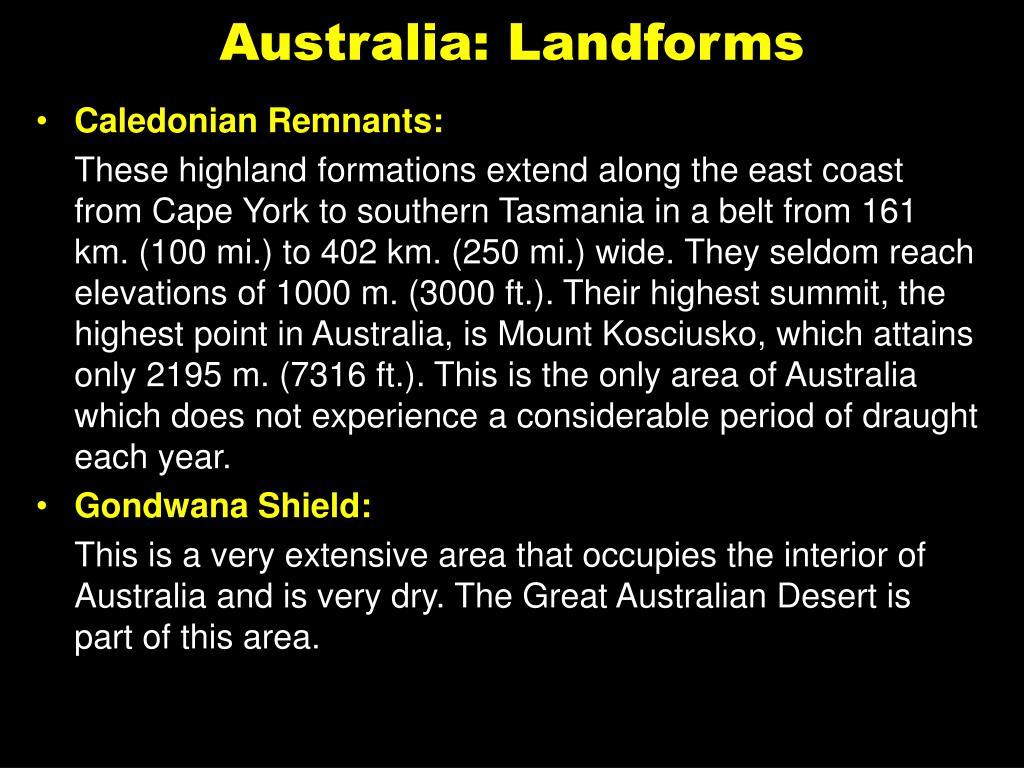 Australia: Landforms