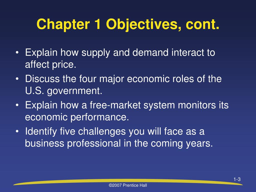 Chapter 1 Objectives, cont.
