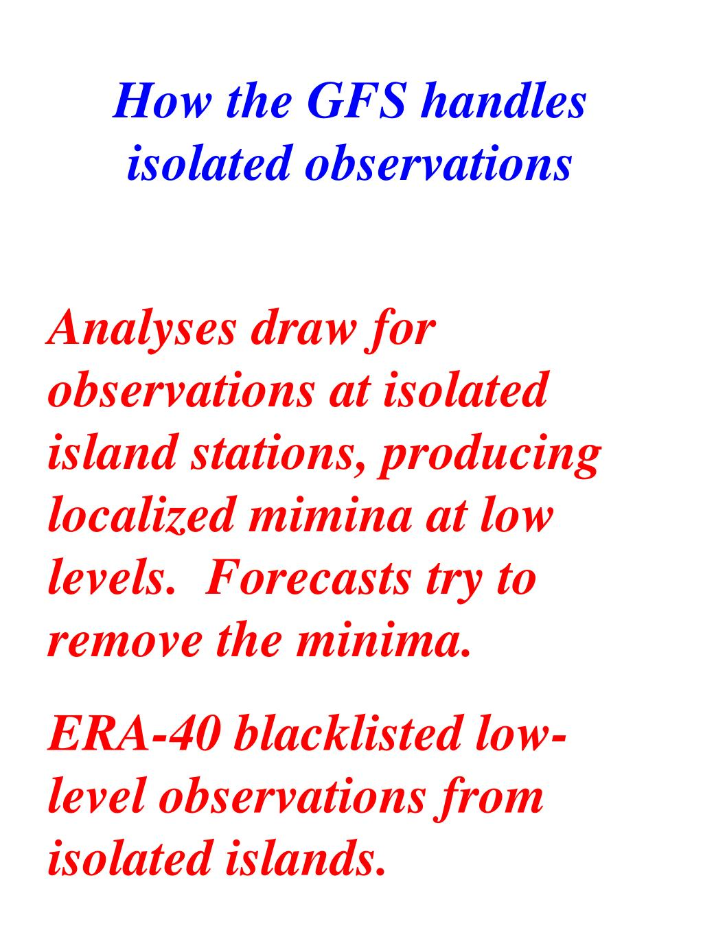 How the GFS handles isolated observations