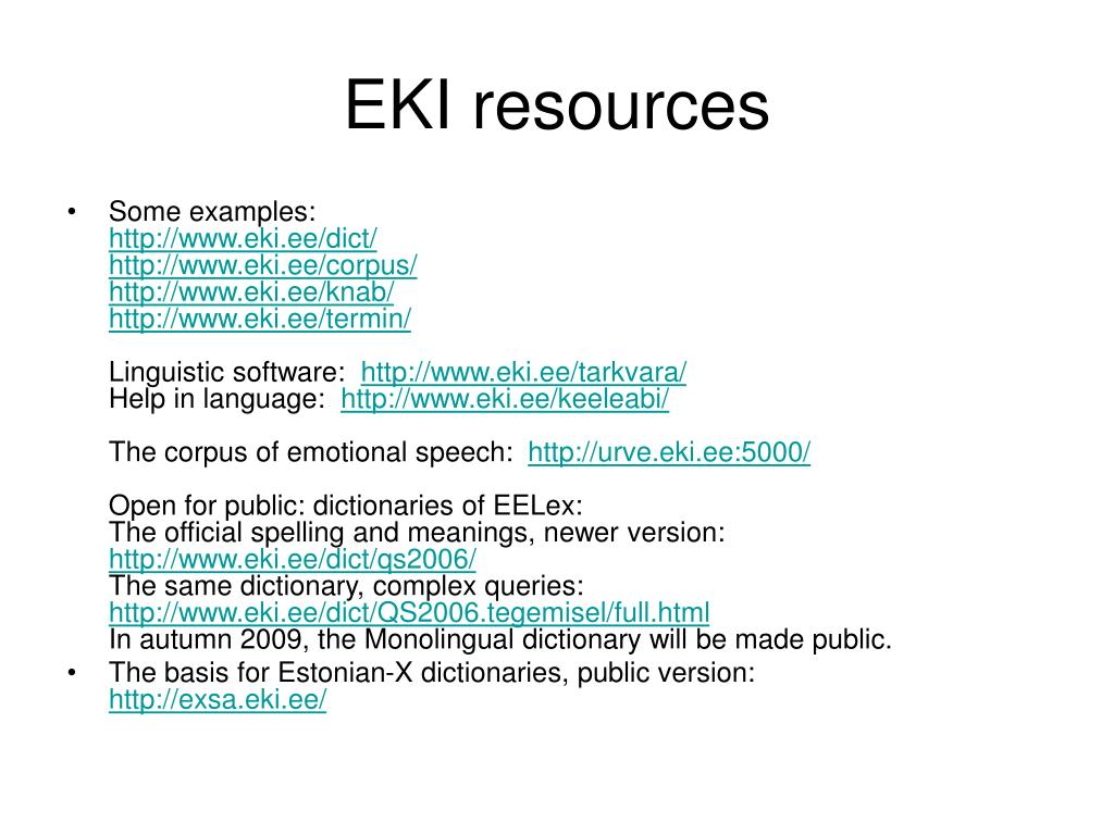 EKI resources