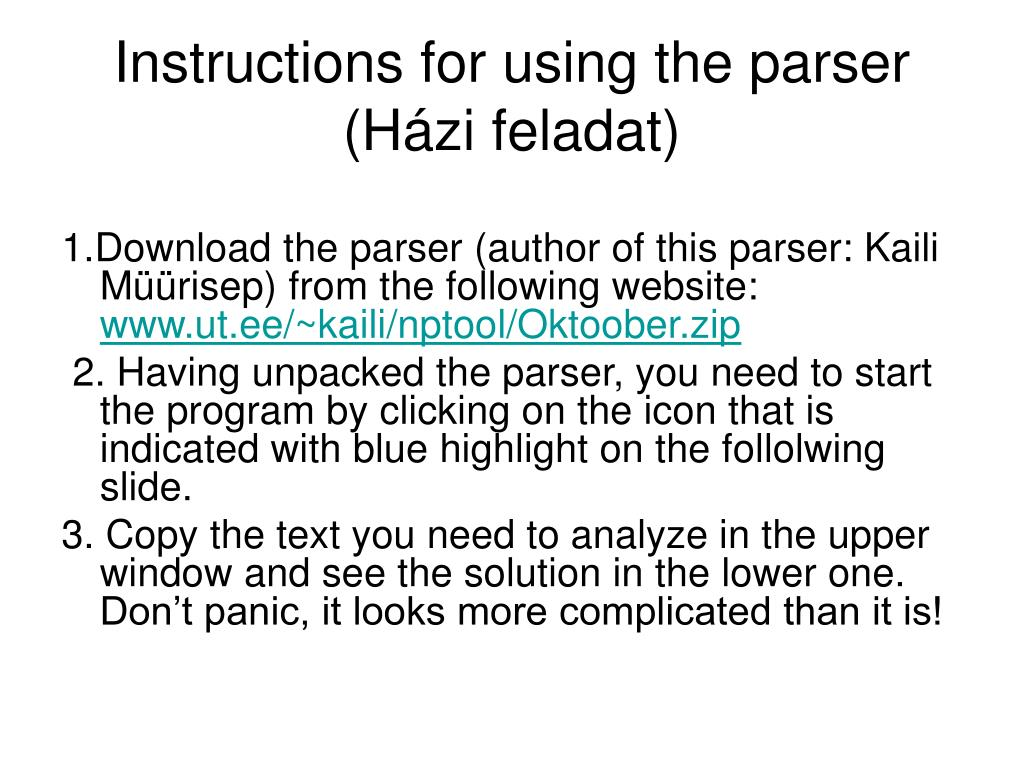 Instructions for using the parser