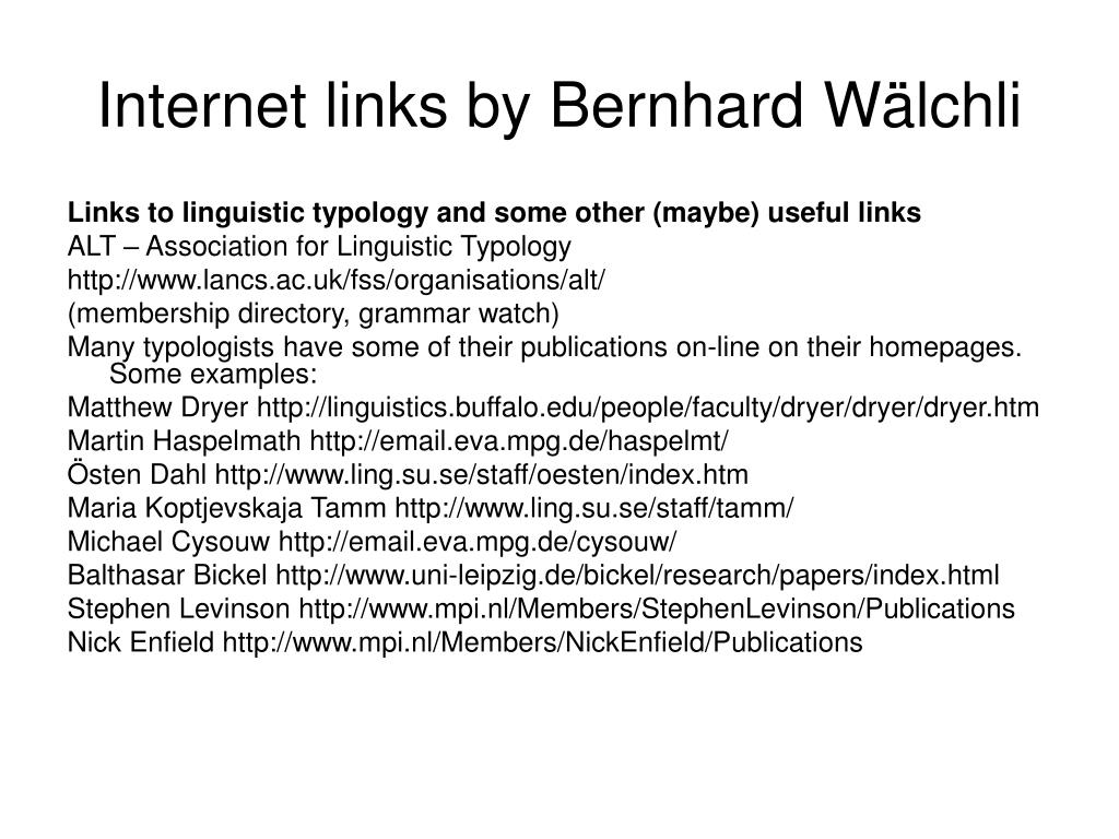 Internet links by Bernhard W