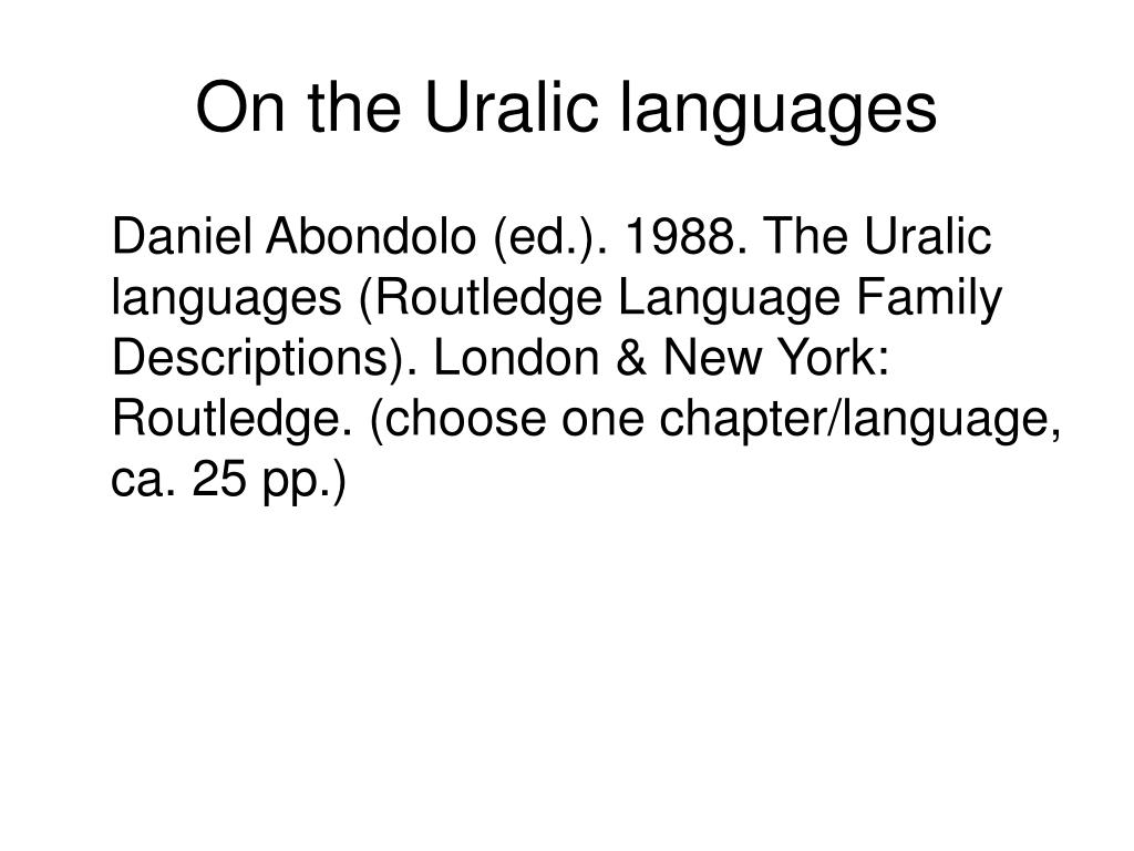 On the Uralic languages