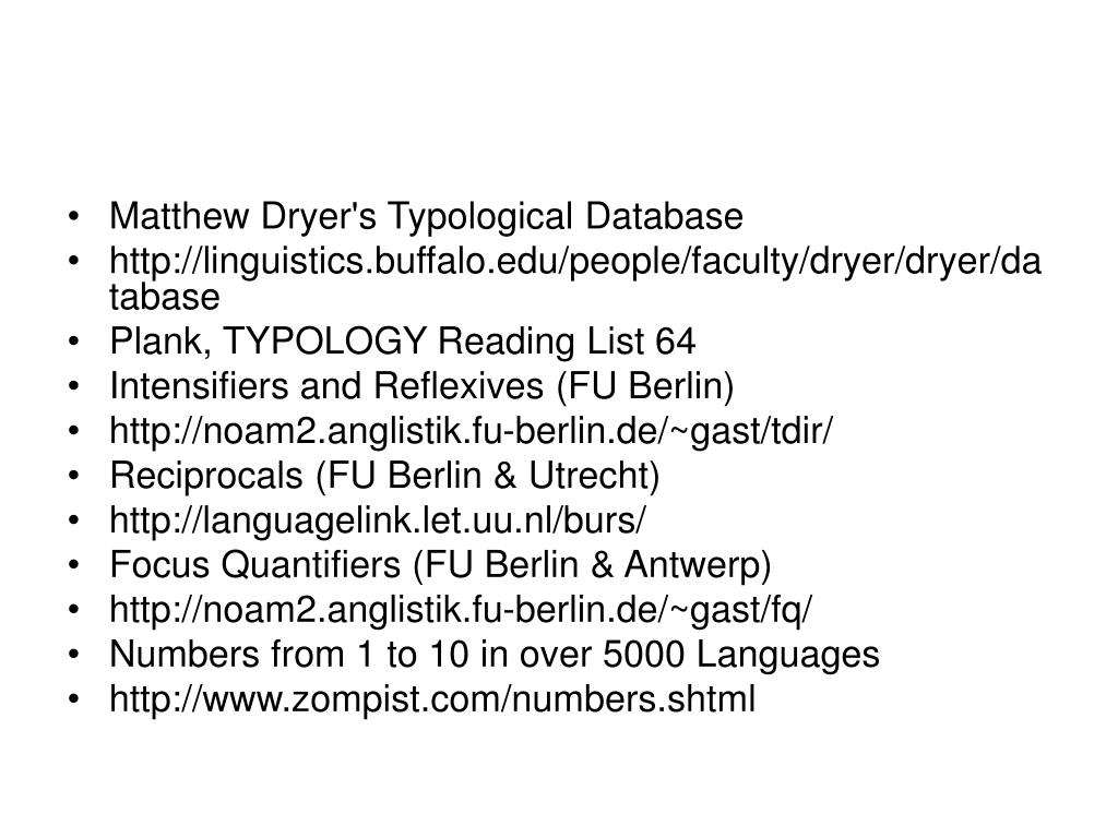 Matthew Dryer's Typological Database