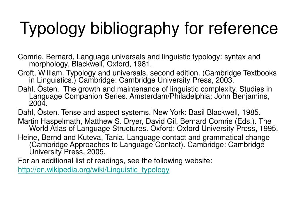 Typology bibliography for reference