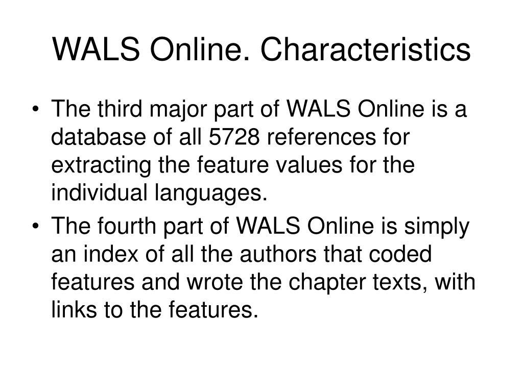 WALS Online. Characteristics