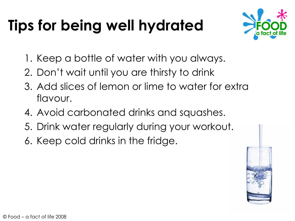Tips for being well hydrated