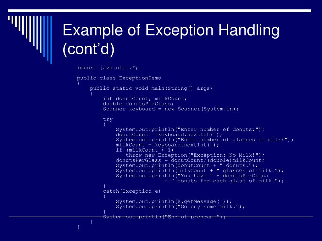 Example of Exception Handling (cont'd)