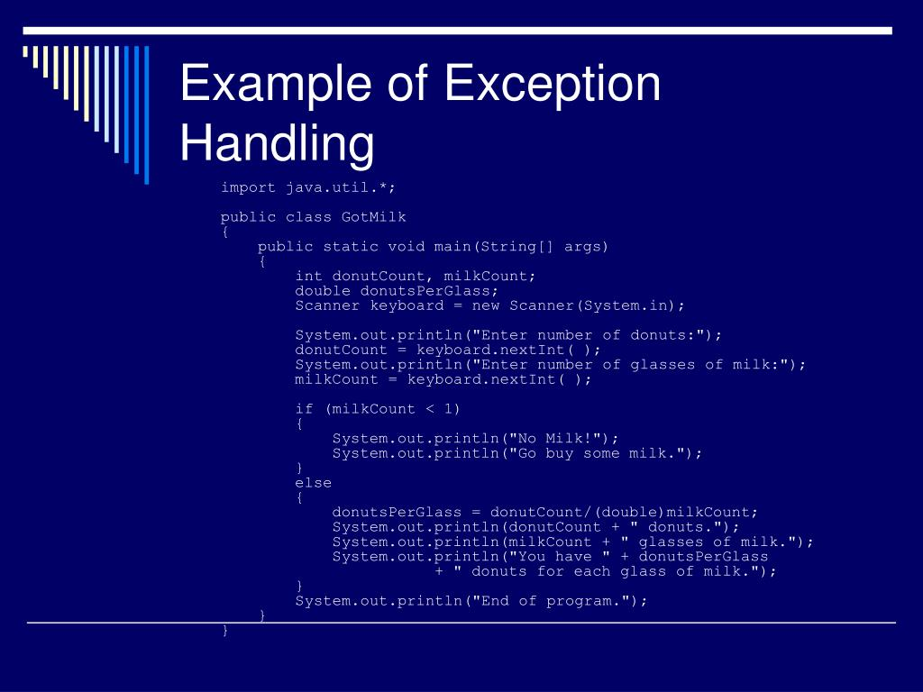 Example of Exception Handling