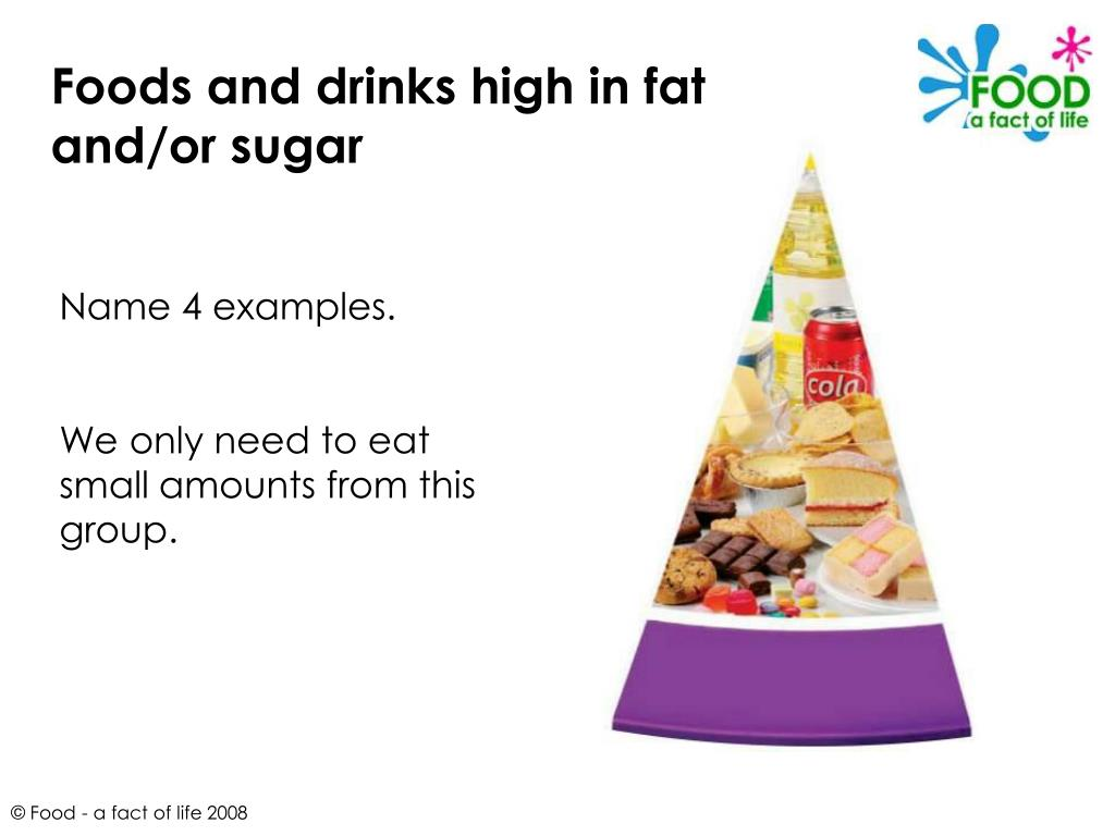 Foods and drinks high in fat and/or sugar