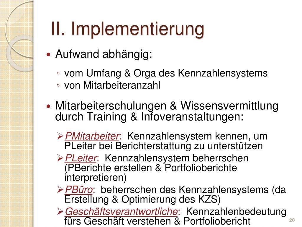 II. Implementierung