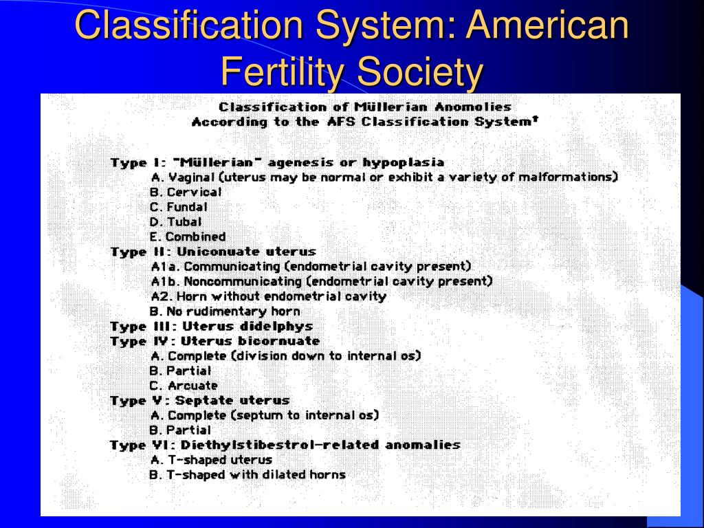 Classification System: American Fertility Society