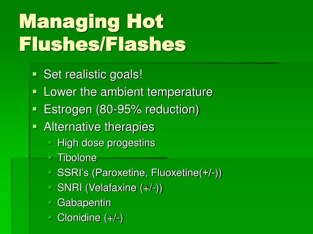 Managing Hot Flushes/Flashes