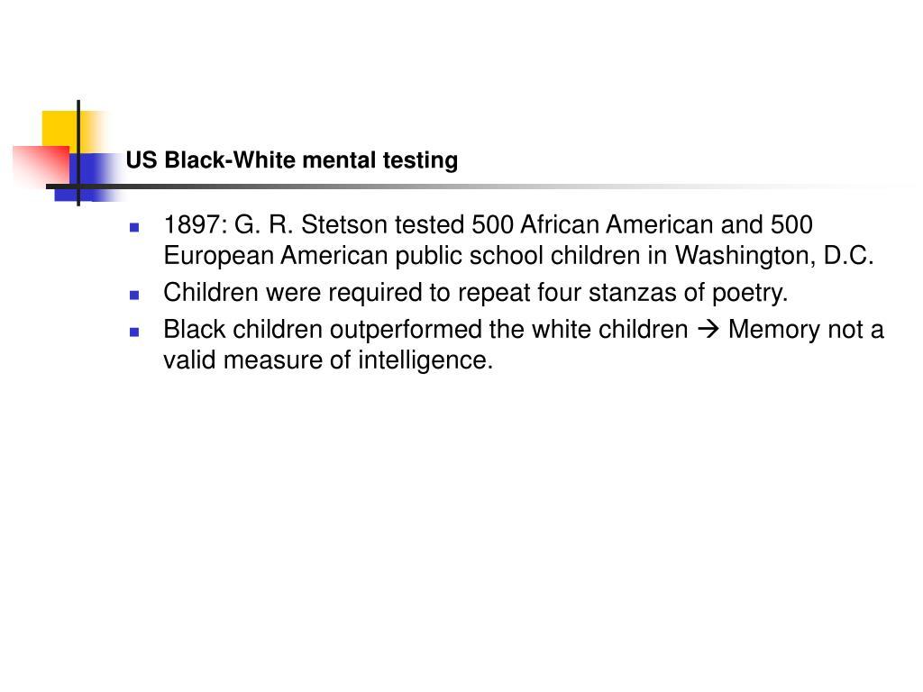 US Black-White mental testing