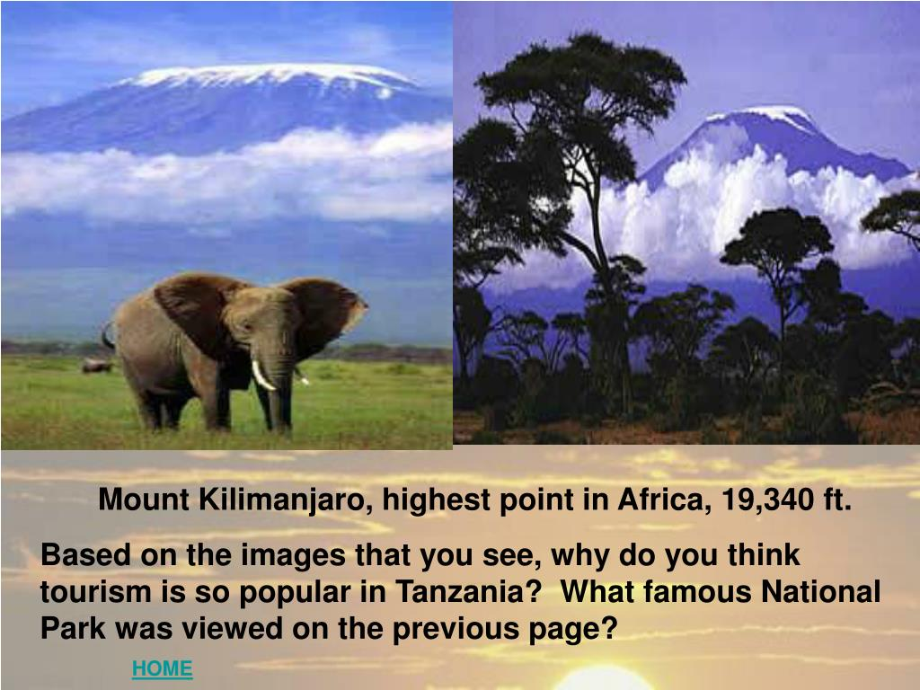 Mount Kilimanjaro, highest point in Africa, 19,340 ft.