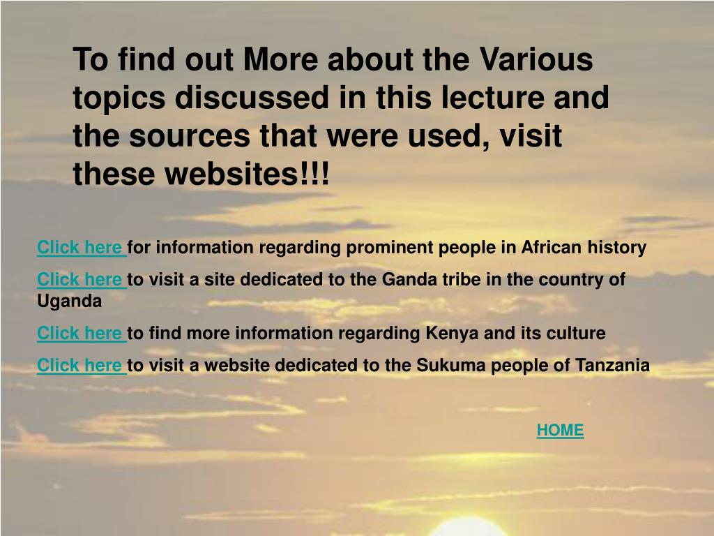 To find out More about the Various topics discussed in this lecture and the sources that were used, visit these websites!!!