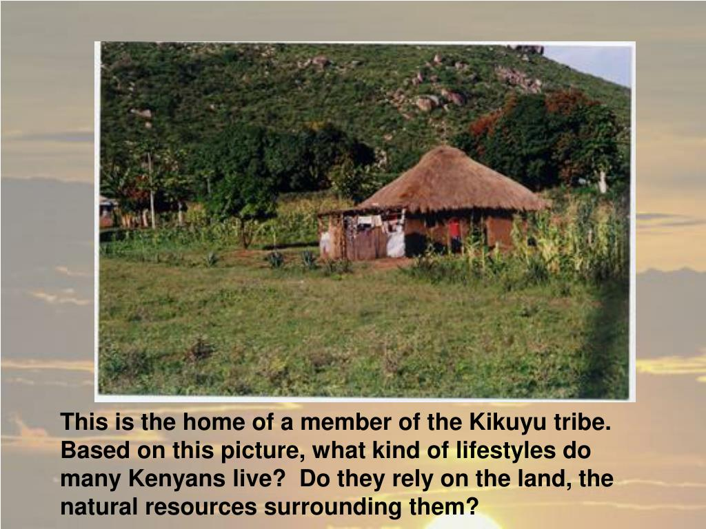 This is the home of a member of the Kikuyu tribe.  Based on this picture, what kind of lifestyles do many Kenyans live?  Do they rely on the land, the natural resources surrounding them?
