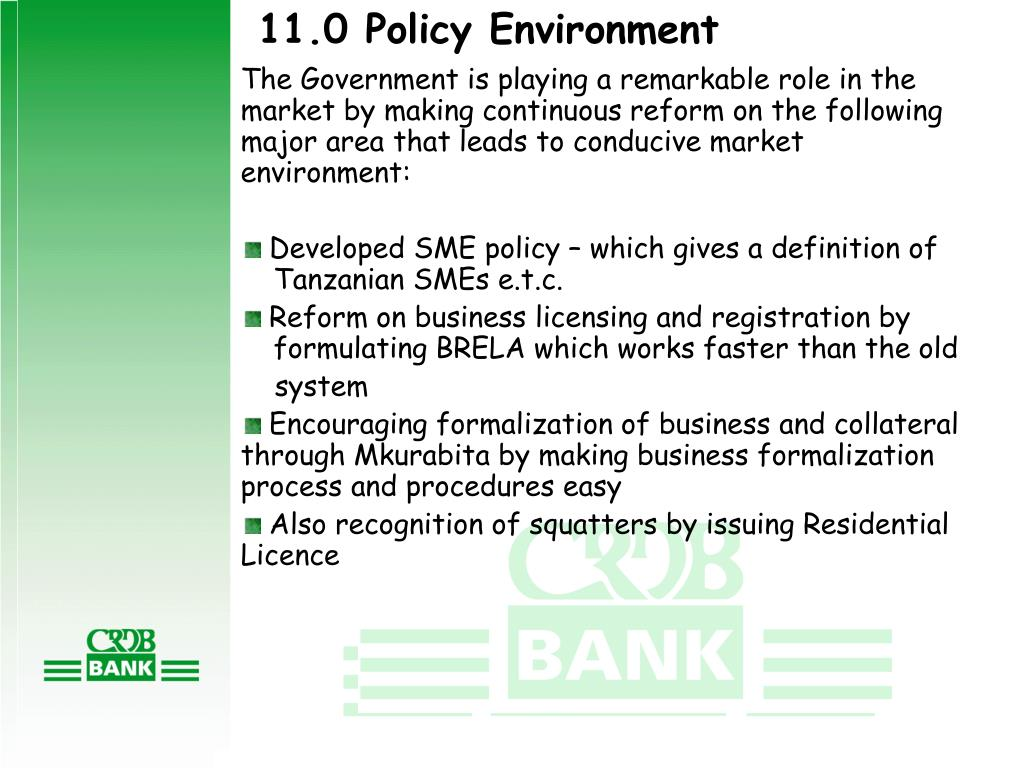 11.0 Policy Environment