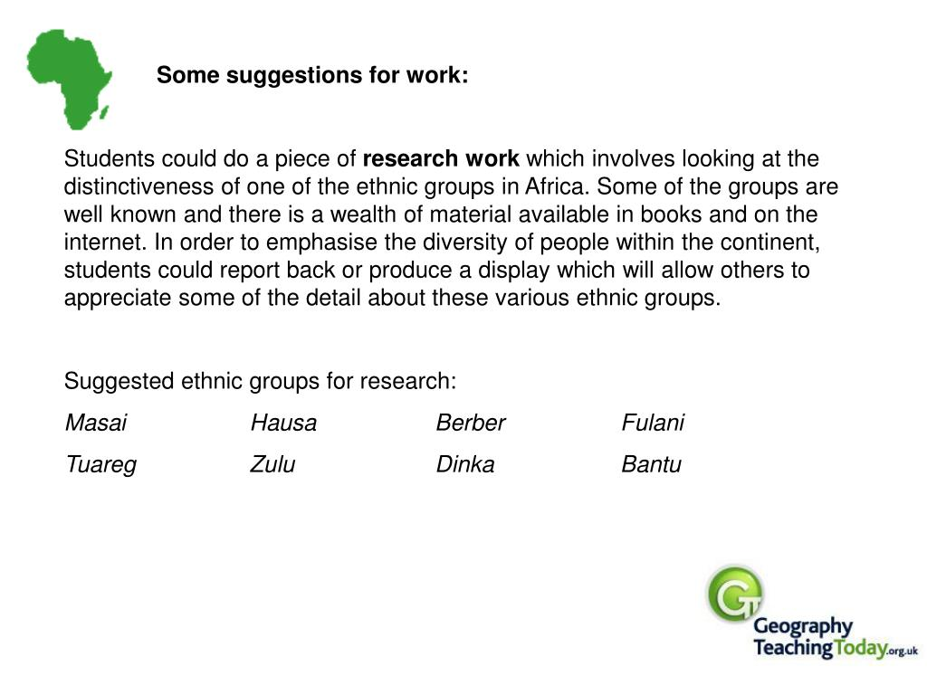 Some suggestions for work: