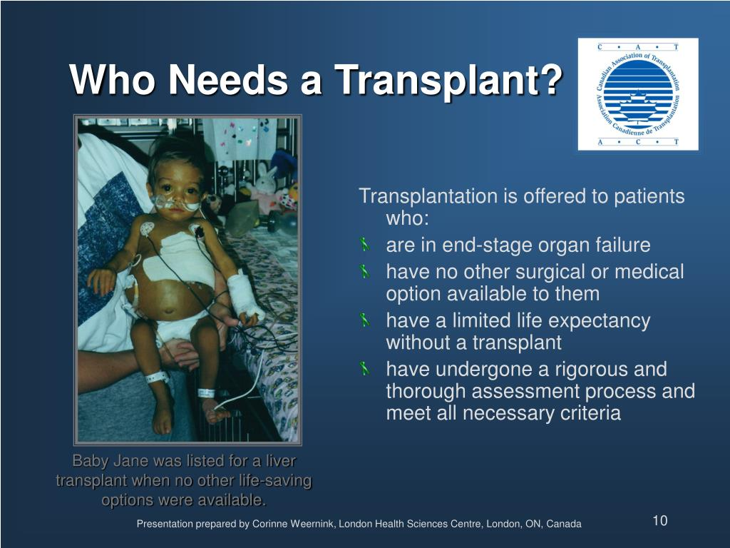 Transplantation is offered to patients who: