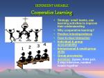 dependent variable cooperative learning