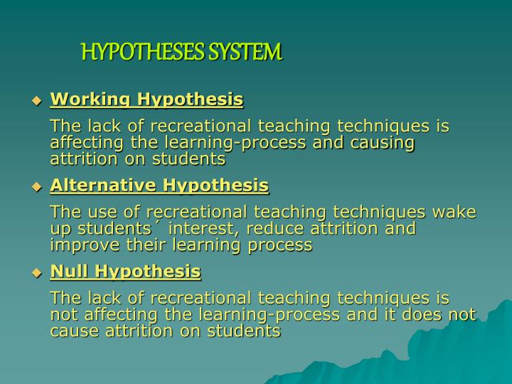 HYPOTHESES SYSTEM