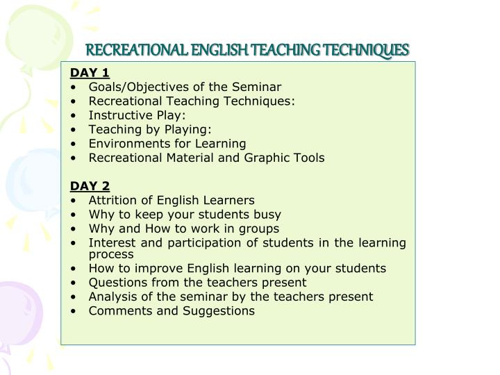 RECREATIONAL ENGLISH TEACHING TECHNIQUES