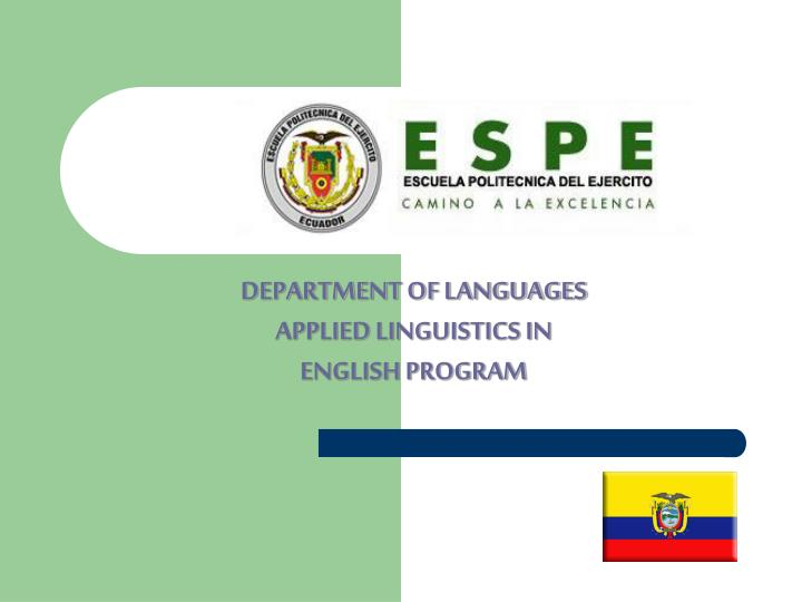 DEPARTMENT OF LANGUAGES