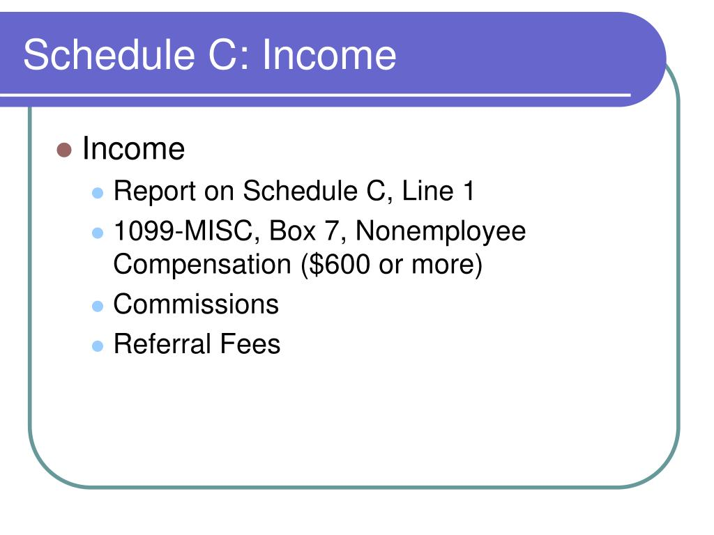 Schedule C: Income