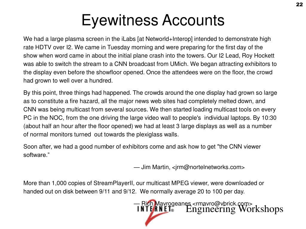 Eyewitness Accounts