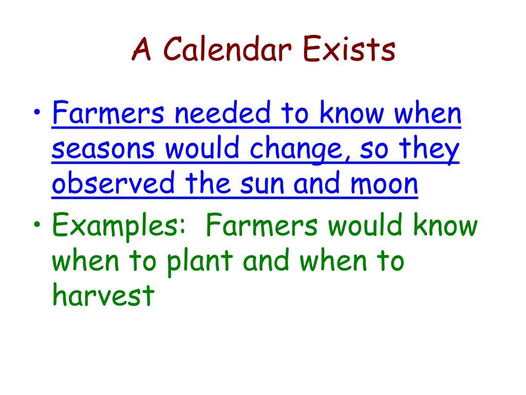 A Calendar Exists