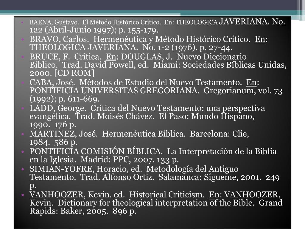 BAENA, Gustavo. El Método Histórico Crítico.