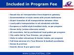 included in program fee