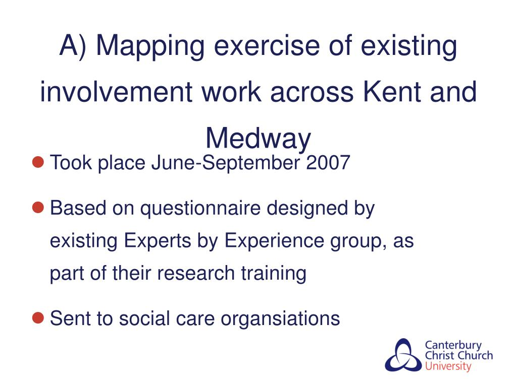 A) Mapping exercise of existing involvement work across Kent and Medway