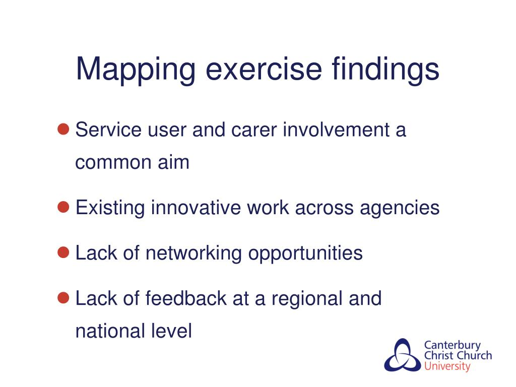 Mapping exercise findings
